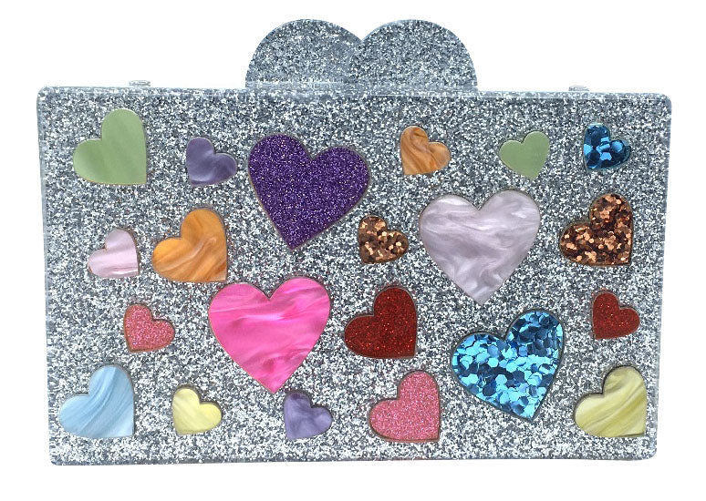 Bari Lynn Girl's Heart Sparkle Glitter Box Purse with Matching Chain Shoulder Strap