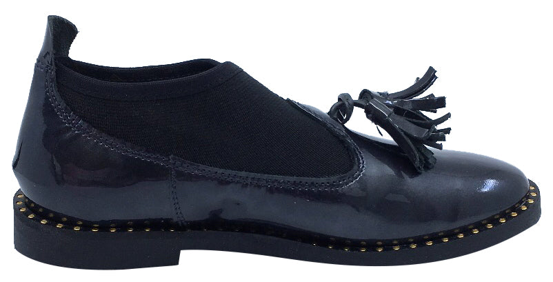 Luccini Girl's Patent Charcoal Grey  Leather Slip On Black Sock Dress Shoe