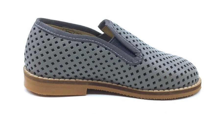 Luccini Boy's Basket Weave Grey Leather Smoking Loafer