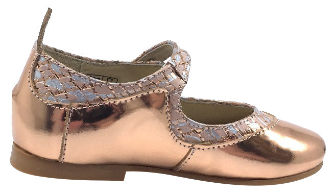 Luccini Girl's Snap Mary Jane, Copper and Cork Trim