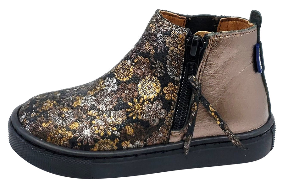 Atlanta Mocassin Girl's Size Zip Leather High-Top Sneaker Booties, Old Gold/Floral