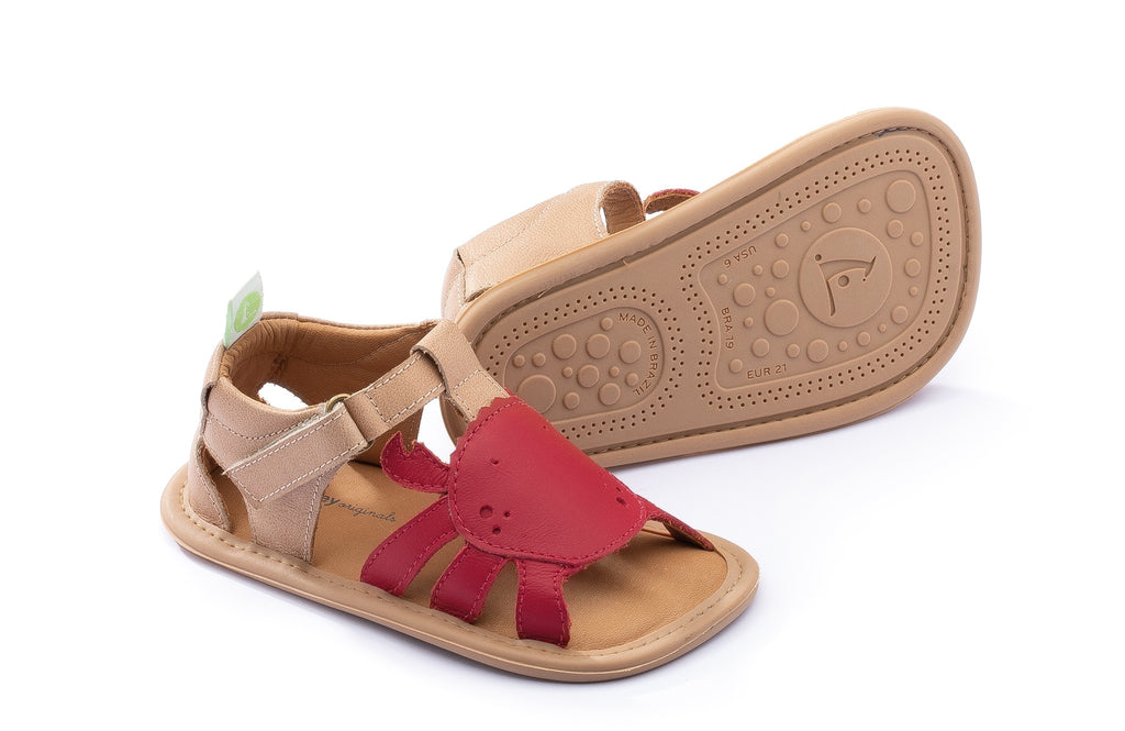 Tip Toey Joey Boy's and Girl's Craby Sandals, Sand/Pomo