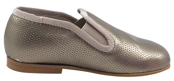 Luccini Slip-On Smoking Loafer, Perforated Bronze