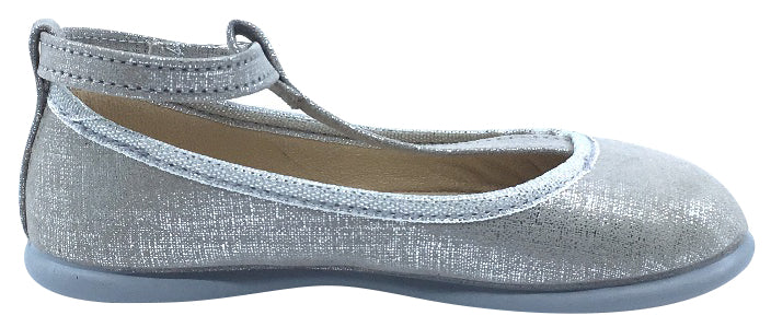 ChildrenChic Girl's T-Bar Ballerina, Silver