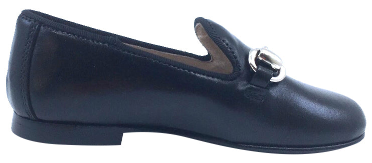 Hoo Shoes Smoking Loafer, Black Leather with Chain