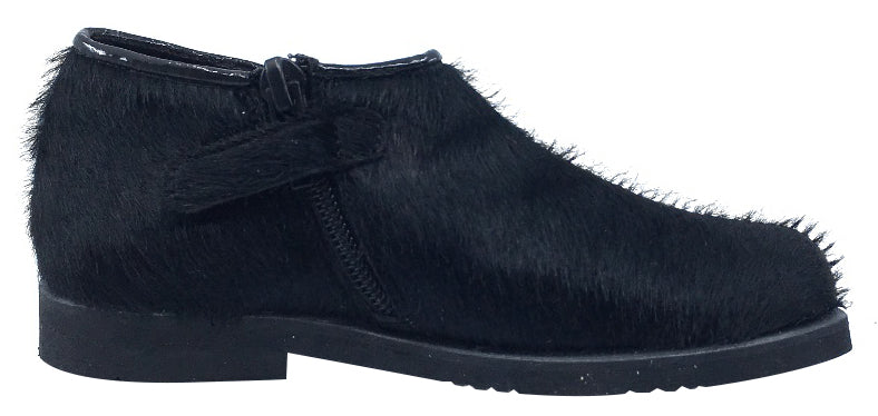 Luccini Girl's Half Patent Half Pony Hair Zip-Up Fashion Boots, Black Patent/Black Pony Hair