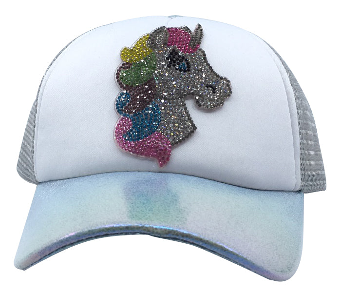 5a5a93a4165 Bari Lynn Toddler Little Girl s Sparkle Unicorn Trucker Hat – Just Shoes for  Kids