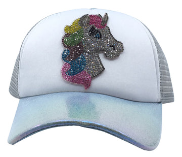 Bari Lynn Toddler/Little Girl's Sparkle Unicorn Trucker Hat