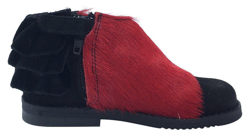 Luccini Girl's Ruffle Back Bootie, Black Suede/Red Pony Hair