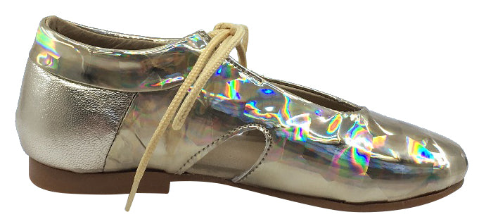 Luccini Girl's Tie Front Flat , Gold