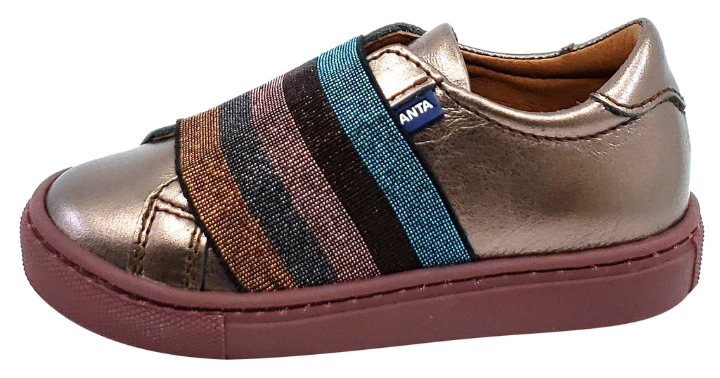 Atlanta Mocassin Girl's Leather Rainbow Elastic Band Slip-on Sneakers, Metallic