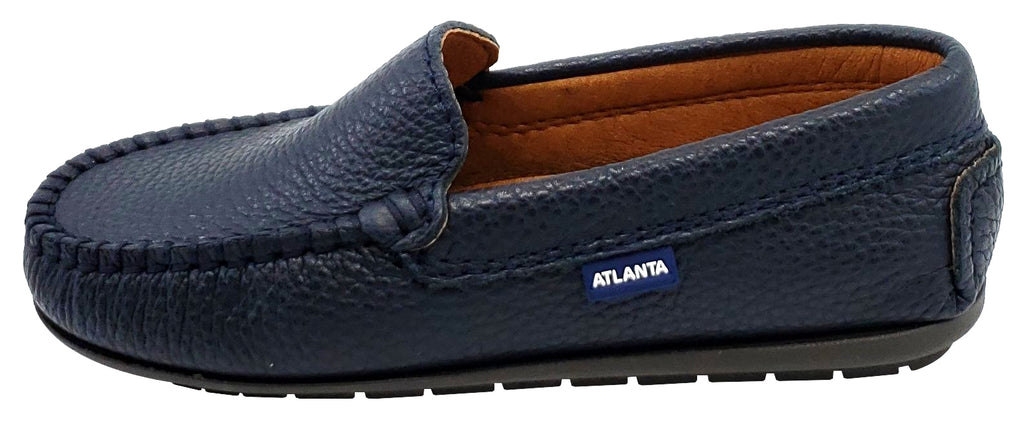 Atlanta Mocassin Boy's Pebbled Leather Loafers, Navy Blue
