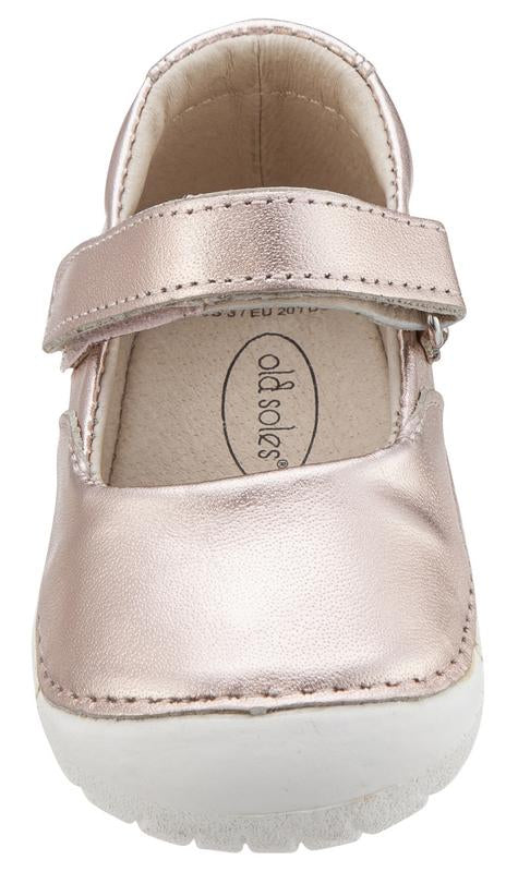 Old Soles Girl's 4001 Pave Jane Copper Leather Hook and Loop Strap Mary Jane Shoe