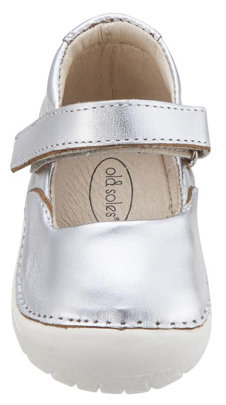 Old Soles Girl's 4001 Pave Jane Silver Leather Hook and Loop Strap Mary Jane Shoe