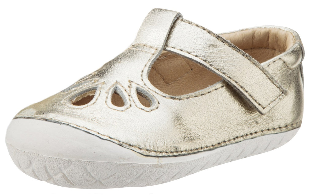 Old Soles Girl's Pave Petal Gold Leather T-Strap with White Sole