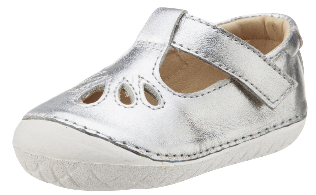 Old Soles Girl's Pave Petal Silver Leather T-Strap with White Outsole