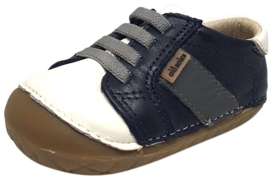 Old Soles Boy's and Girl's Hipster Pave Navy & White Leather Elastic Laces Slip On Walker Baby Shoe Sneaker