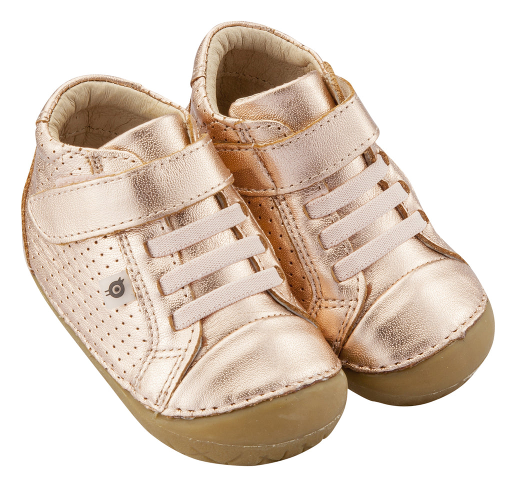 Old Soles Girl's Pave Cheer Copper Gum Sole Leather High Top Elastic Hook and Loop Walker Baby Shoe Sneaker