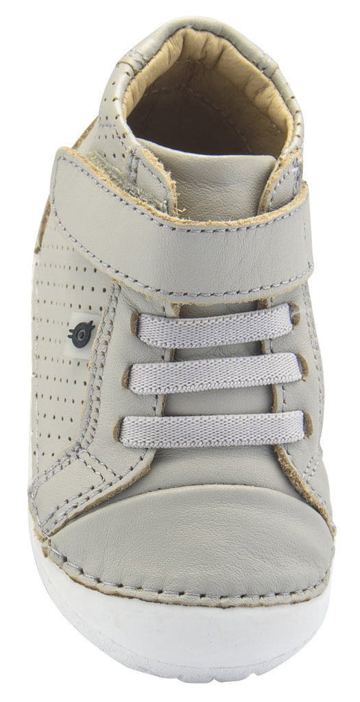 Old Soles Boy's and Girl's Pave Cheer Premium Leather First Walker Sneaker Shoes, Gris