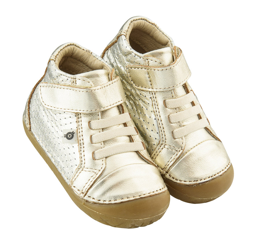 Old Soles Boy's and Girl's Pave Cheer Gold Leather High Top Elastic Hook and Loop Walker Baby Shoe Sneaker