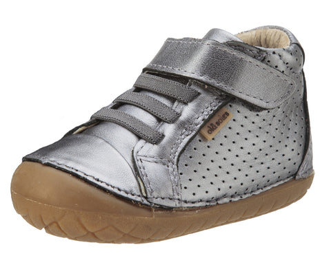 Old Soles Girl's Pave Cheer Rich Silver Leather High Top Elastic Hook and Loop Walker Baby Shoe Sneaker
