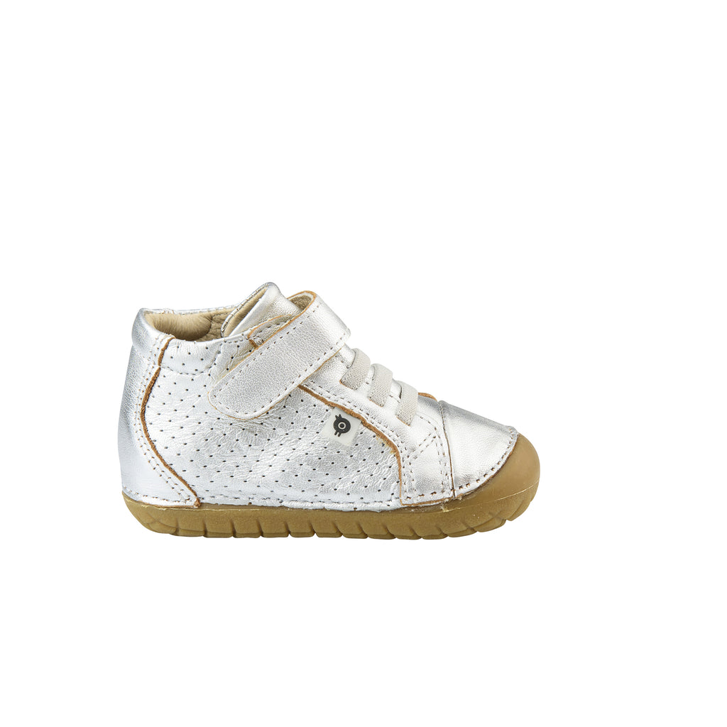 Old Soles Boy's and Girl's Pave Cheer Silver Leather High Top Elastic Hook and Loop Walker Baby Shoe Sneaker