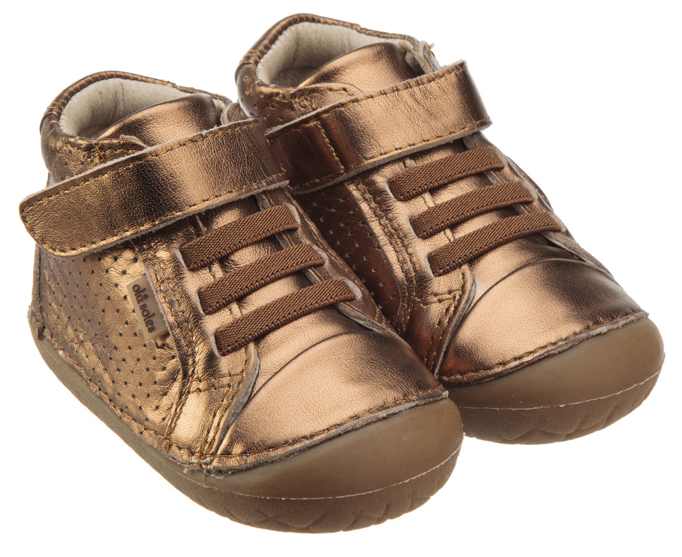 Old Soles Girl's Pave Cheer Old Gold Leather High Top Elastic Hook and Loop Walker Baby Shoe Sneaker
