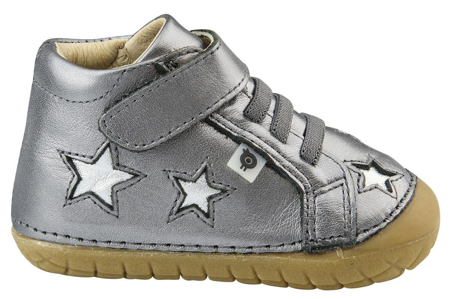 Old Soles Girl's and Boy's Reach Pave Star Sneakers, Rich Silver/Silver
