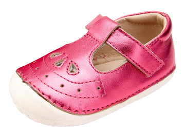 Old Soles Girl's Royal Pave T-strap Sneakers - Fuchsia Foil