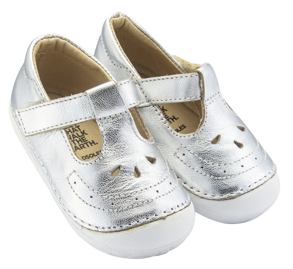 Old Soles Girl's Royal Pave T-strap Sneakers, Silver