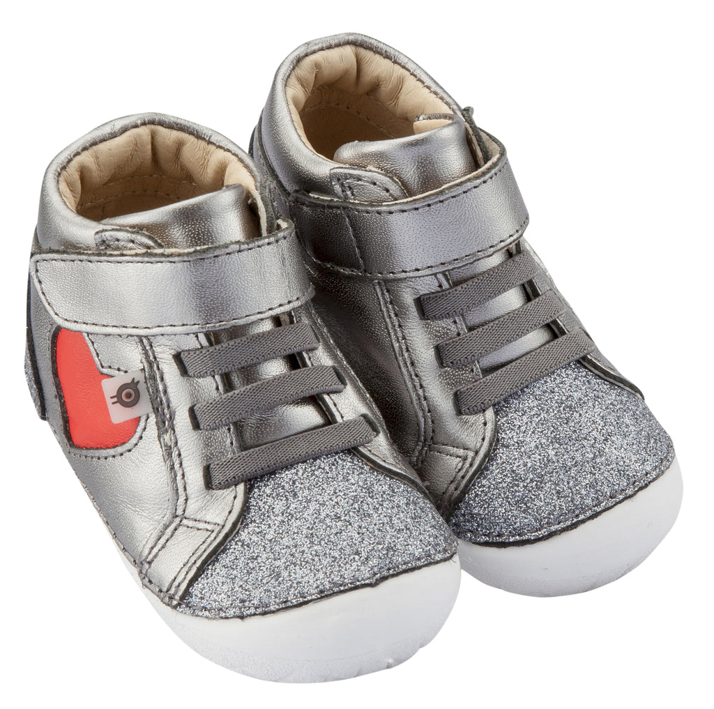 Old Soles Girl's My-Heart Pave Sneakers, Glam Gunmetal / Bright Red