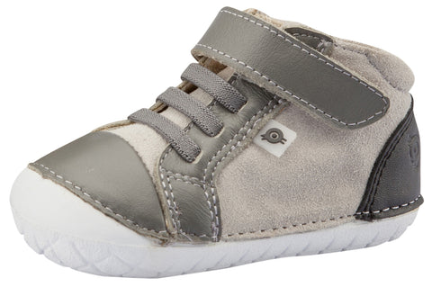 Old Soles Girl's and Boy's High Pave Sneakers, Grey Suede / Grey / Black