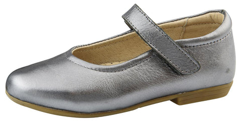 Old Soles Girl's Brule Sista Leather Mary Janes, Rich Silver