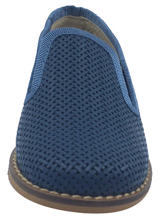 Luccini Boy's Slip-On Smoking Loafer, Navy Blue Weave