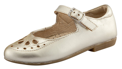 Old Soles Girl's Brule Gal Leather Mary Jane Dress Shoes, Gold
