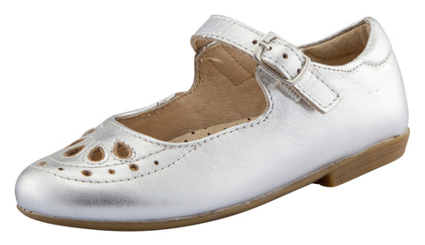 Old Soles Girl's Brule Gal Leather Mary Jane Dress Shoes, Silver
