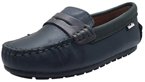 Venettini Boy's Savor Navy Green Leather Slip On Contrast Trim Moccasin Loafer