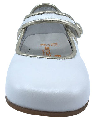 Andanines Girl's Metallic Trim Mary Jane, Blanco/Silver Trim