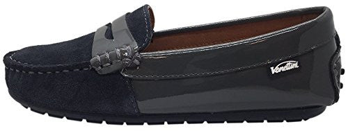 Venettini Boy's Relax Dark Grey Suede Upper Patent Leather Slip On Moccasin Loafer