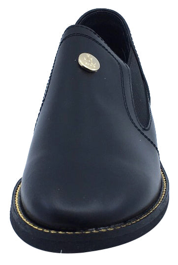 Luccini Girl's Slip-On Black Fashion Booties with Gold Trim