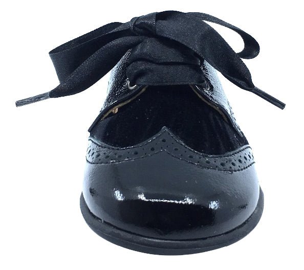 Andanines Boy's and Girl's Ribbon Tie Oxford, Black Patent/Black Velvet