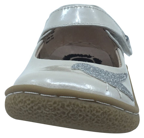 Livie & Luca Girl's Pio Pio Cloud Shimmer Patent Leather with Sparkly Dove Detail Mary Jane Flat Shoes
