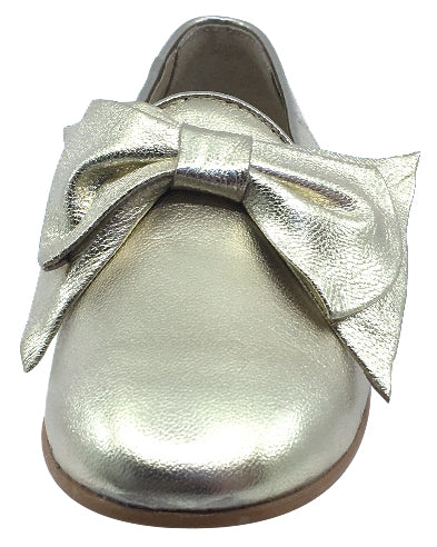 Luccini Bow Slip-On Smoking Loafer, Platino