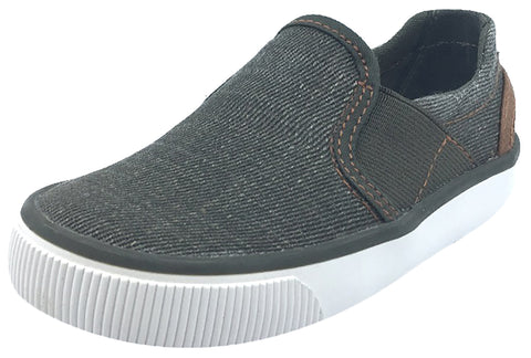 Geox Boy's and Girl's Kilwi Military Green and Brown Canvas Slip-On Sneaker