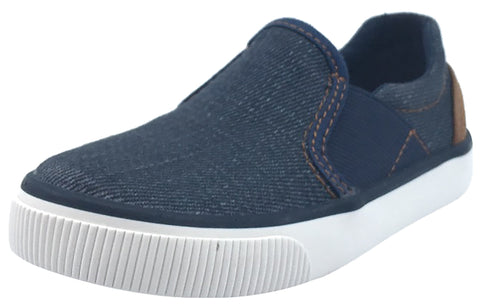 Geox Boy's and Girl's Kilwi Denim and Brown Canvas Slip-On Sneaker