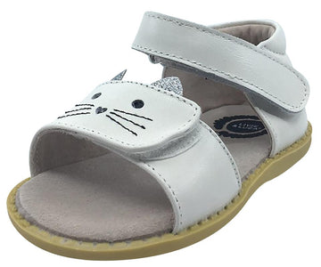 Livie & Luca Girl's Tabby Cat Milk Leather and Sparkle Hook and Loop Open Toe Sandal