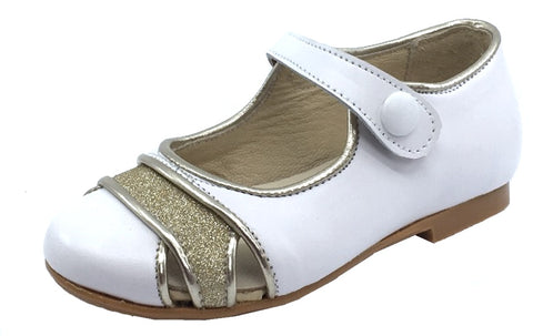 Luccini Girl's Cut Out Snap Mary Jane, White
