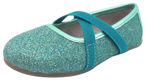 Livie & Luca Girl's Aurora Turquoise Shimmer Blue with Trim Slip On Ballet Flat with Criss-Crossing Elastic Straps