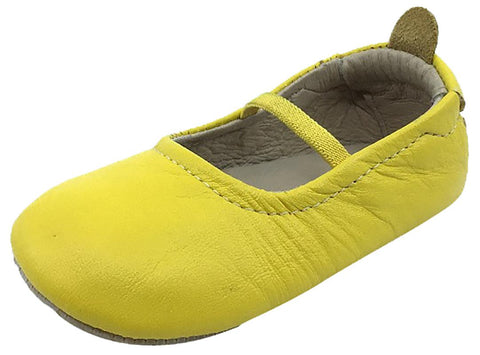 Old Soles Girl's 013 Luxury Ballet Flat Yellow Soft Leather Elastic Mary Jane Crib Walker Baby Shoes