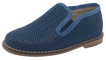 Luccini Slip-On Smoking Loafer, Navy Blue Weave